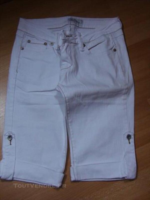 1 Bermuda Femme Blanc Jeans 38/40 Neuf 84072063
