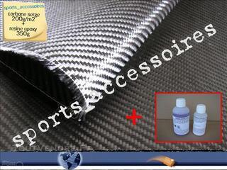 1 m2 tissu de carbone sergé 200g/m2 + 350g de résine époxy