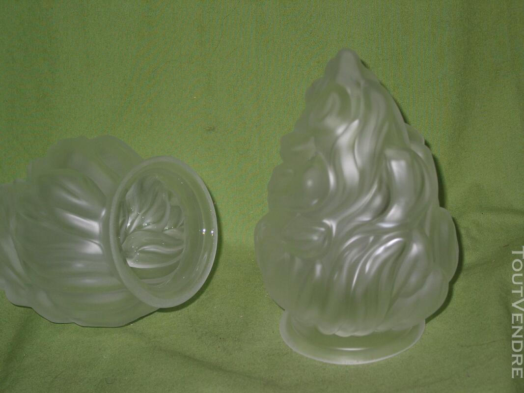 1 une Tulipe flamme empire pâte de verre pressée lampe lustr 620718837