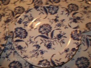 11 ASSIETTES PLATES GIEN décor Floral bleu ENGLAND