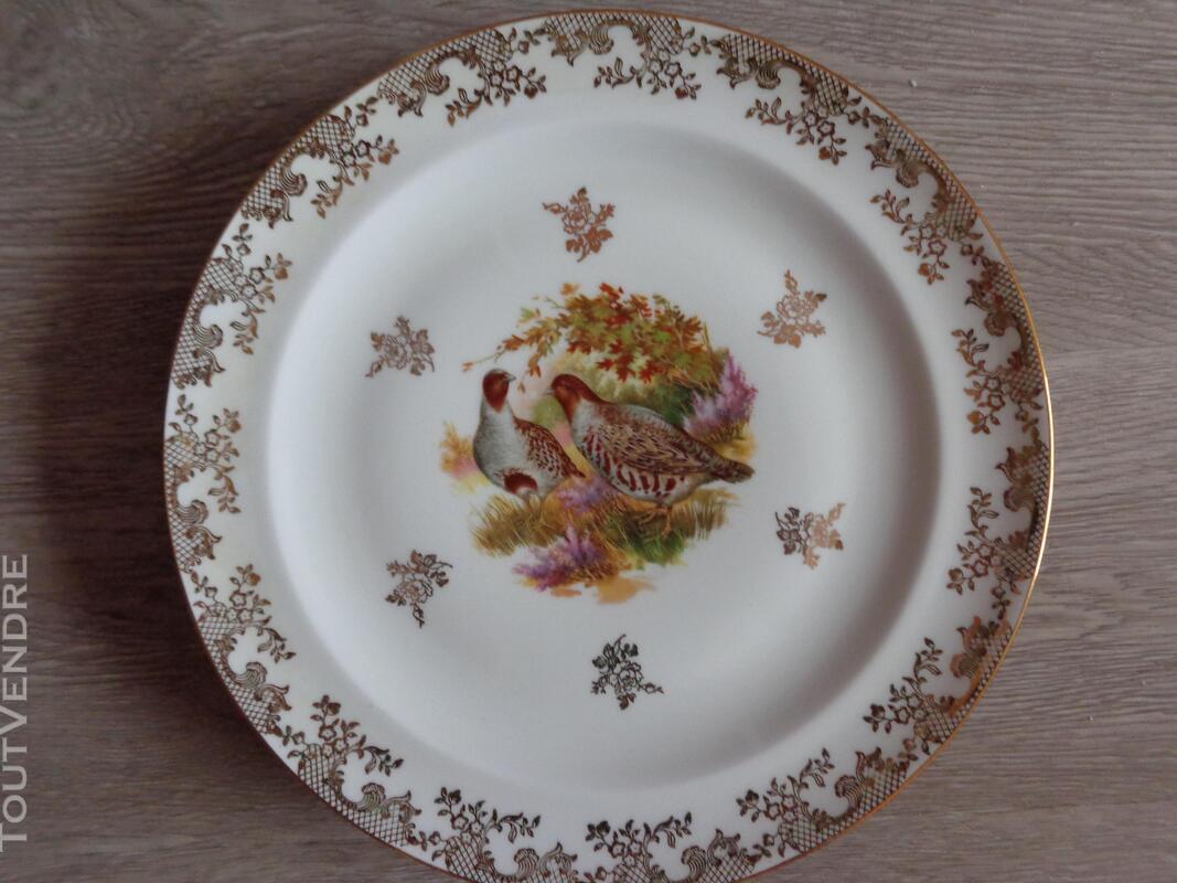 12 assiettes + 1 plat gibier porcelaine de limoges 309880561