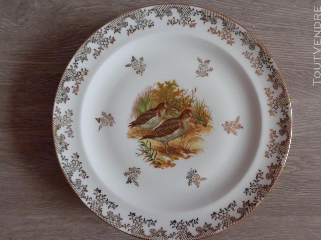 12 assiettes + 1 plat gibier porcelaine de limoges 309880564