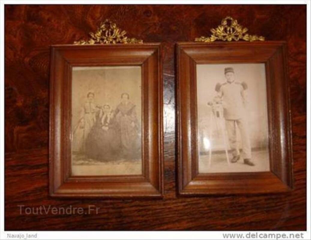 2 anciens cadres bois et cuivre, photos anciennes 88217115