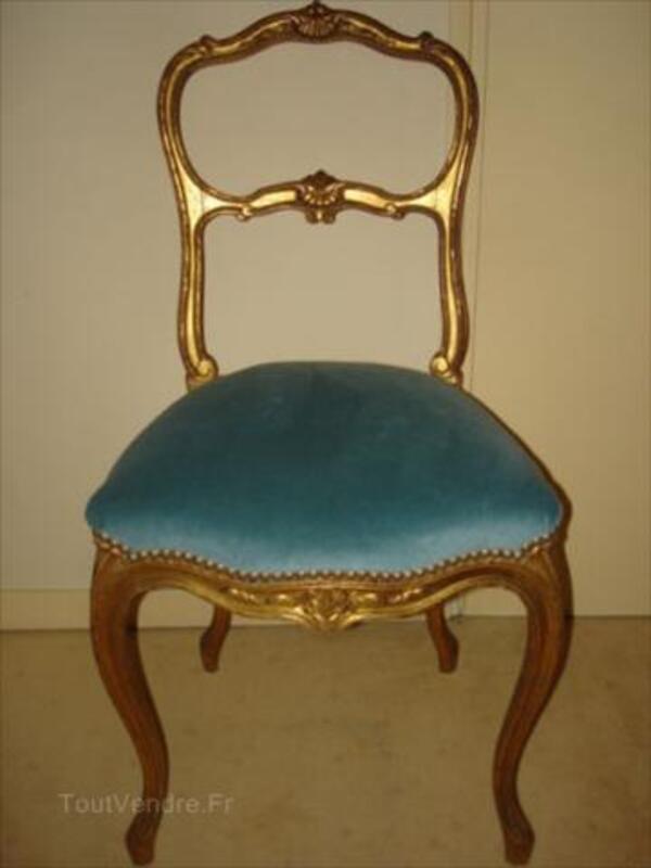 2 chaises dorées NAPOLEON III velours + certificat 56530889