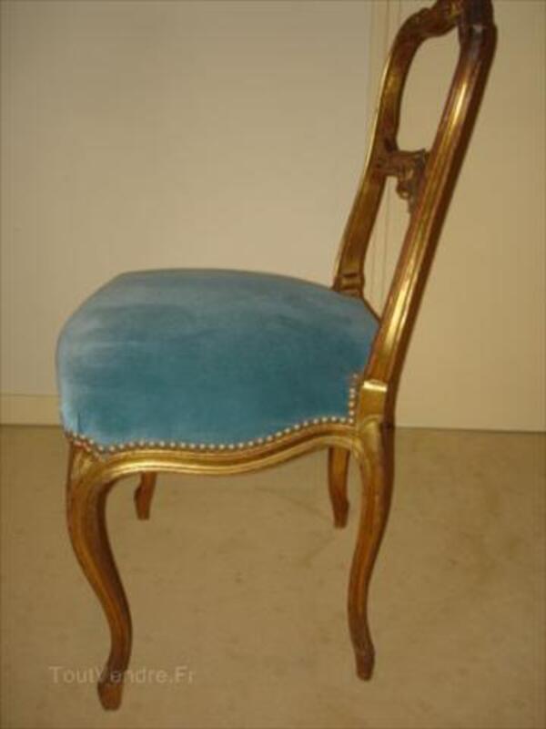 2 chaises dorées NAPOLEON III velours + certificat 56530890