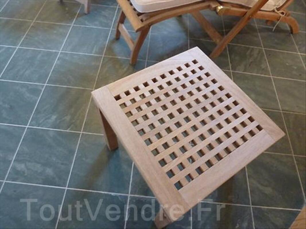 2 chaises en teck et table basse 64454317