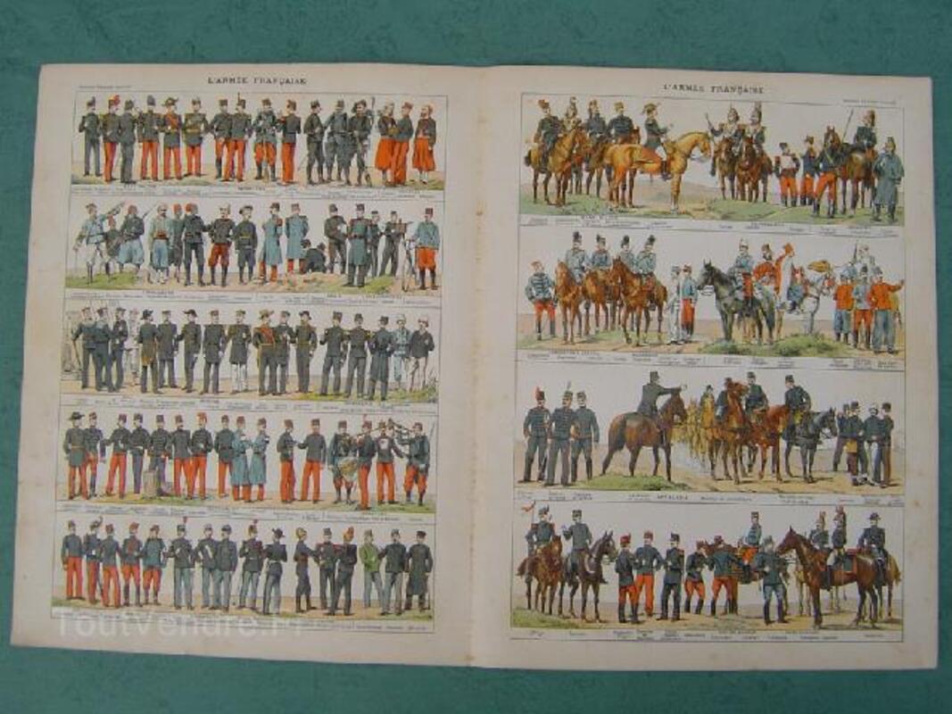 2 Planches 1900 Ecoles Armée française uniformes 92180956