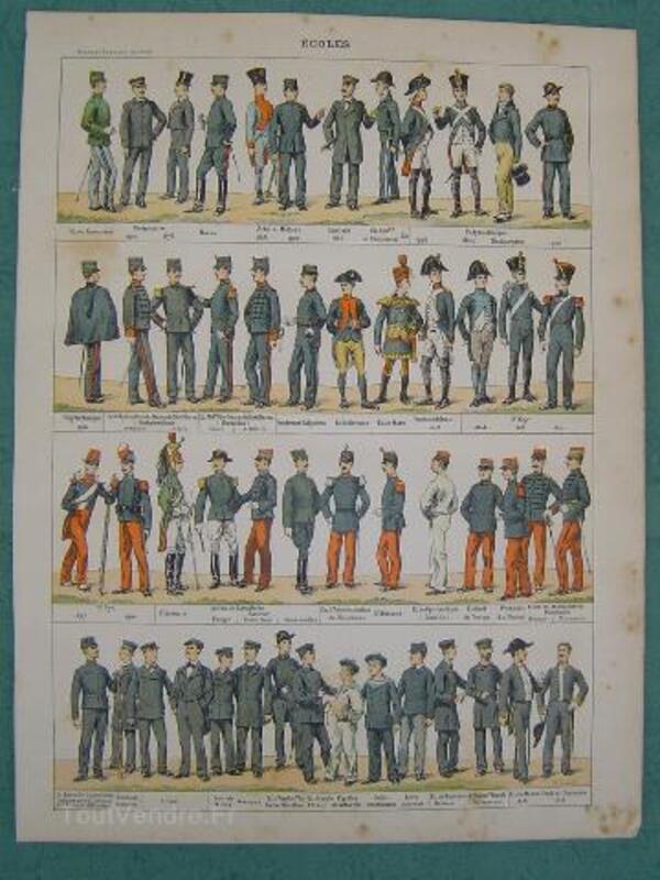 2 Planches 1900 Ecoles Armée française uniformes 92180957