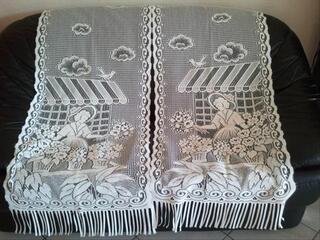2 rideaux blancs prêts à poser (57x156 cm)
