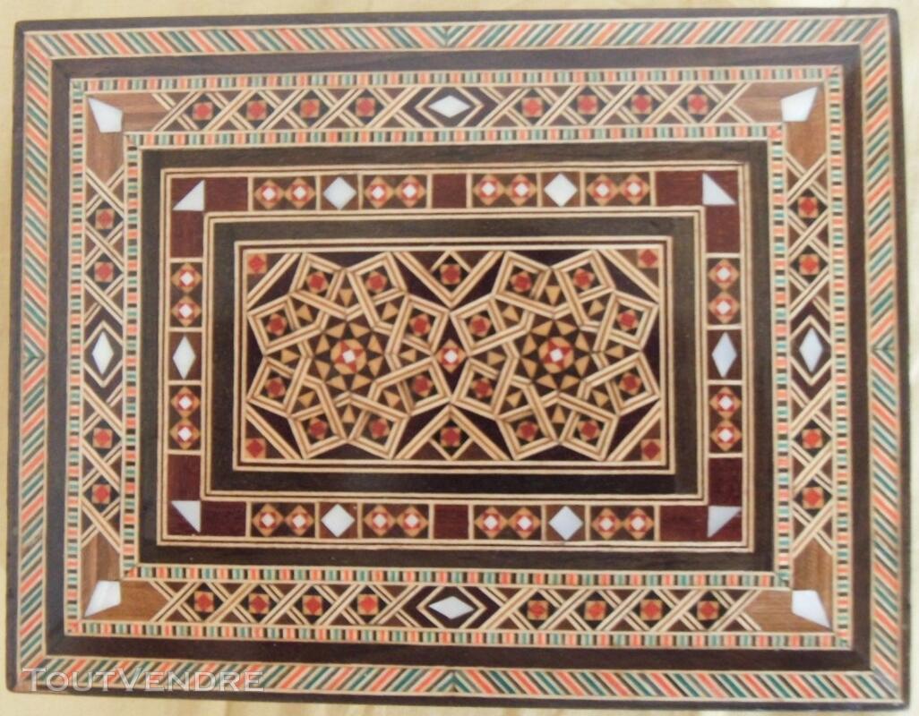 3 coffrets en bois - incrustations - Syrie et Maroc 116983441
