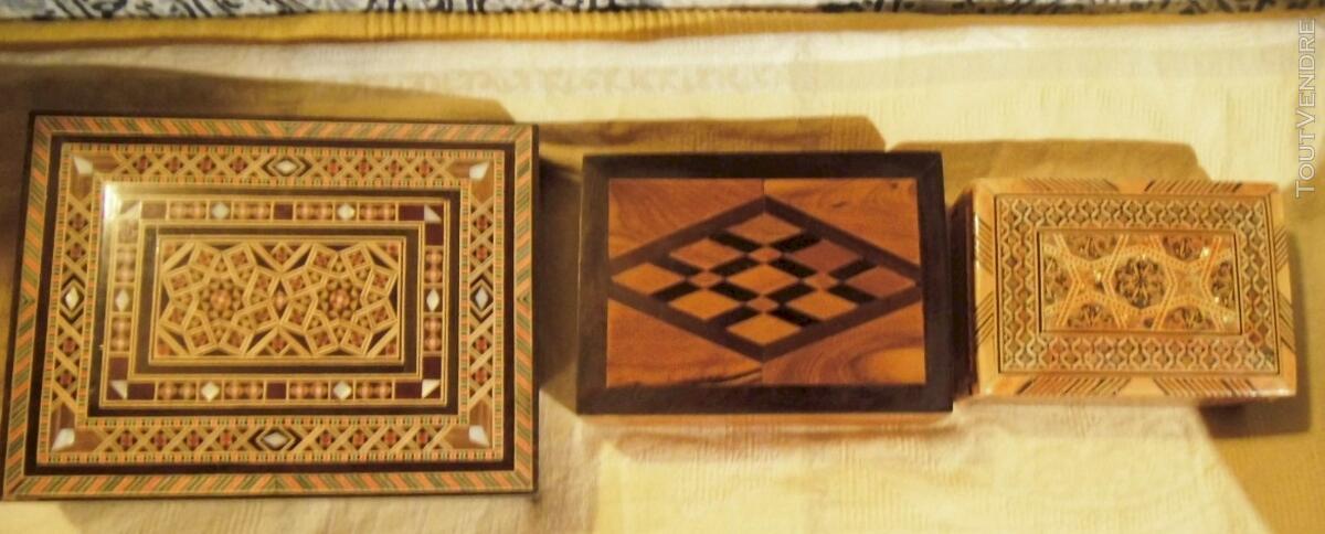 3 coffrets en bois - incrustations - Syrie et Maroc 116983442