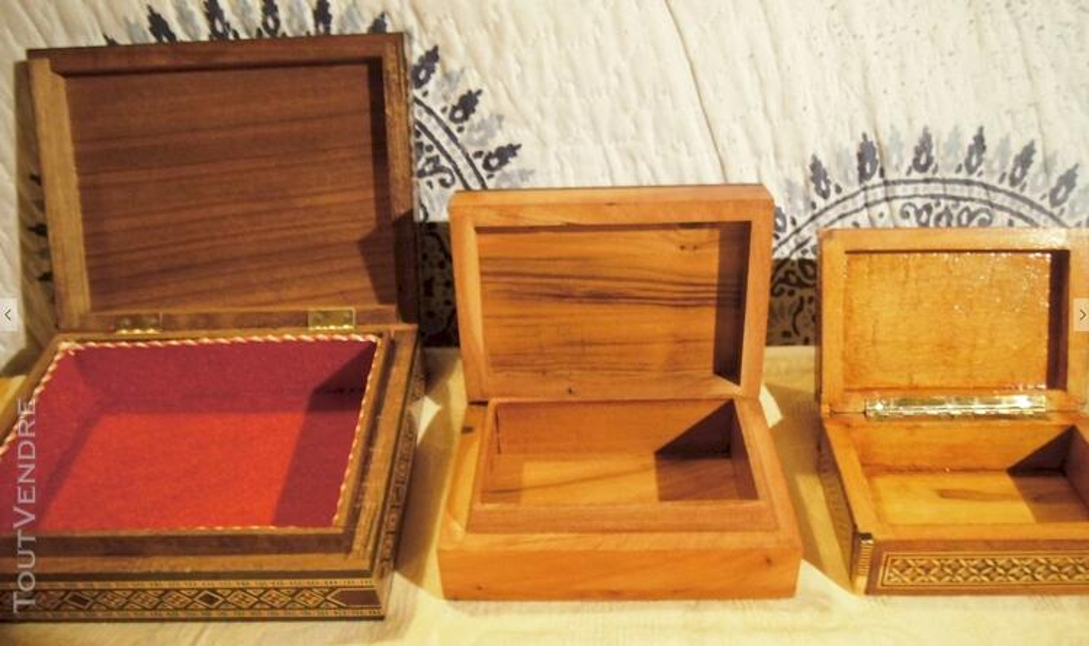 3 coffrets en bois - incrustations - Syrie et Maroc 116983443
