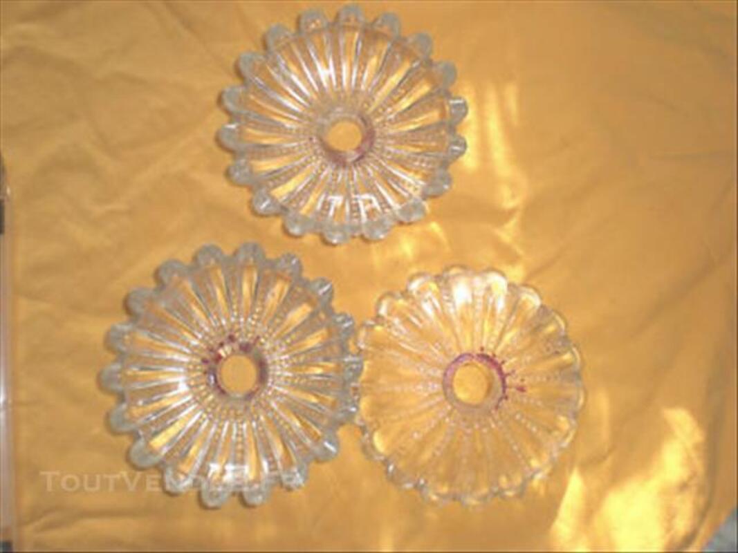 3 coupelles pampille ancienne  pour lustre bougeoir 84055062