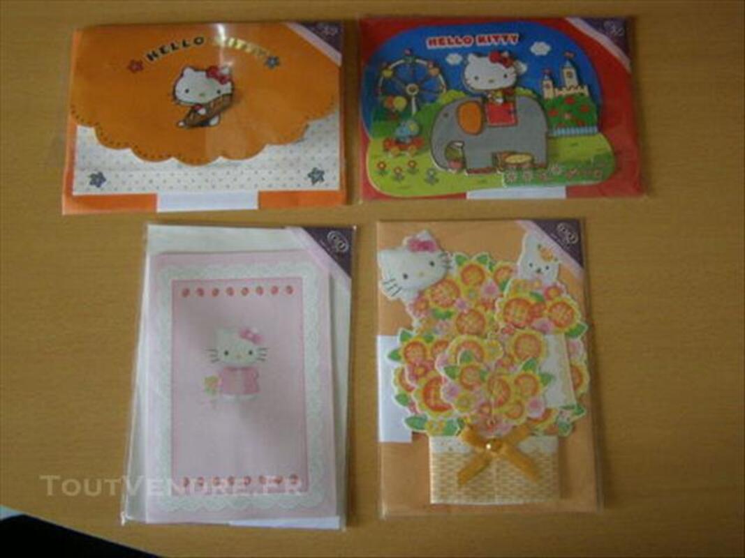 4 Cartes d'anniversaire Hello Kitty 84648981
