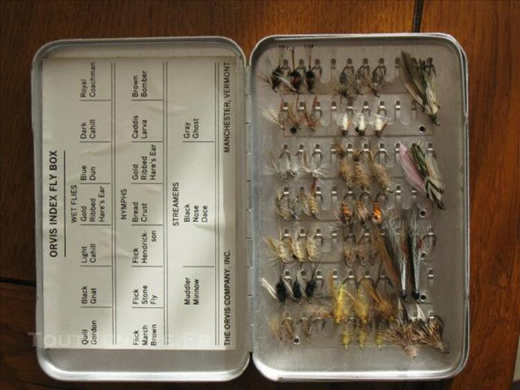 48 mouches Orvis + boîte alu Orvis, jamais utilisées 81951179