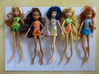 5 poupées Winx: Flora, Laïla, Musa, Stella et Bloom