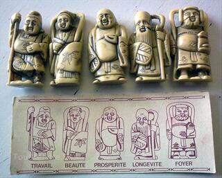 5 STATUETTES CHINOISES imitation  i v o i r e  ancien