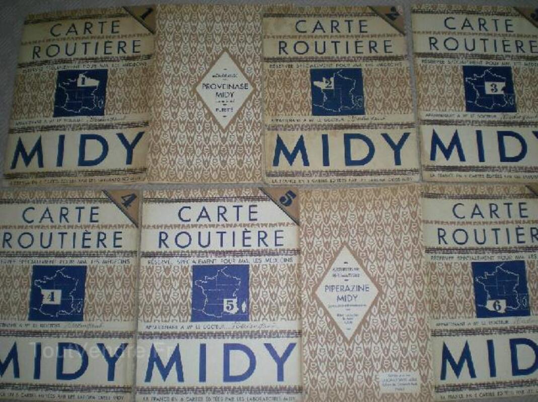 6 cartes routières Labo Midy 1920-30 91912475