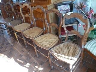 6 Chaises bois cannées de salon ,d' époque 1920/30.T B E