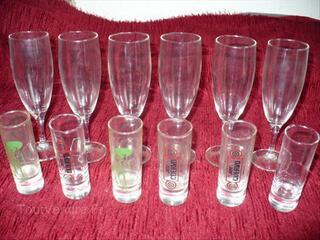 6 Flûtes à champagne,6 verres Liqueurs JOSE CUERVO