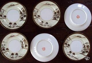6 petites assiettes porcelaine KUTANI Asie