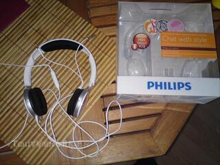 A saisir casque audio Philips réducteur de bruit blanc