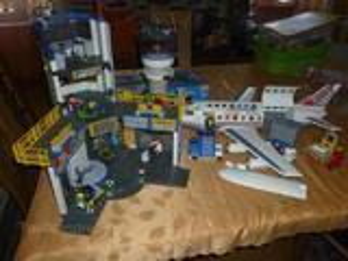 Aéroport, avion cargo, tour de contrôle playmobil