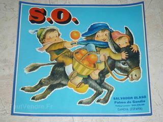 Affiche  originale Animal   Ane et Enfants  ORANGES S.0