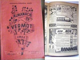 ALMANACH VERMOT 1955 NOSTRADAMUS BANANIA BISCUITS LU