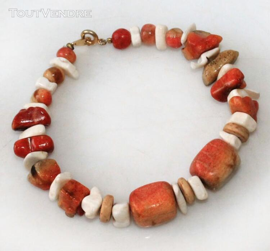 ANCIEN BRACELET de LUXE en CORAIL VINTAGE 127356110