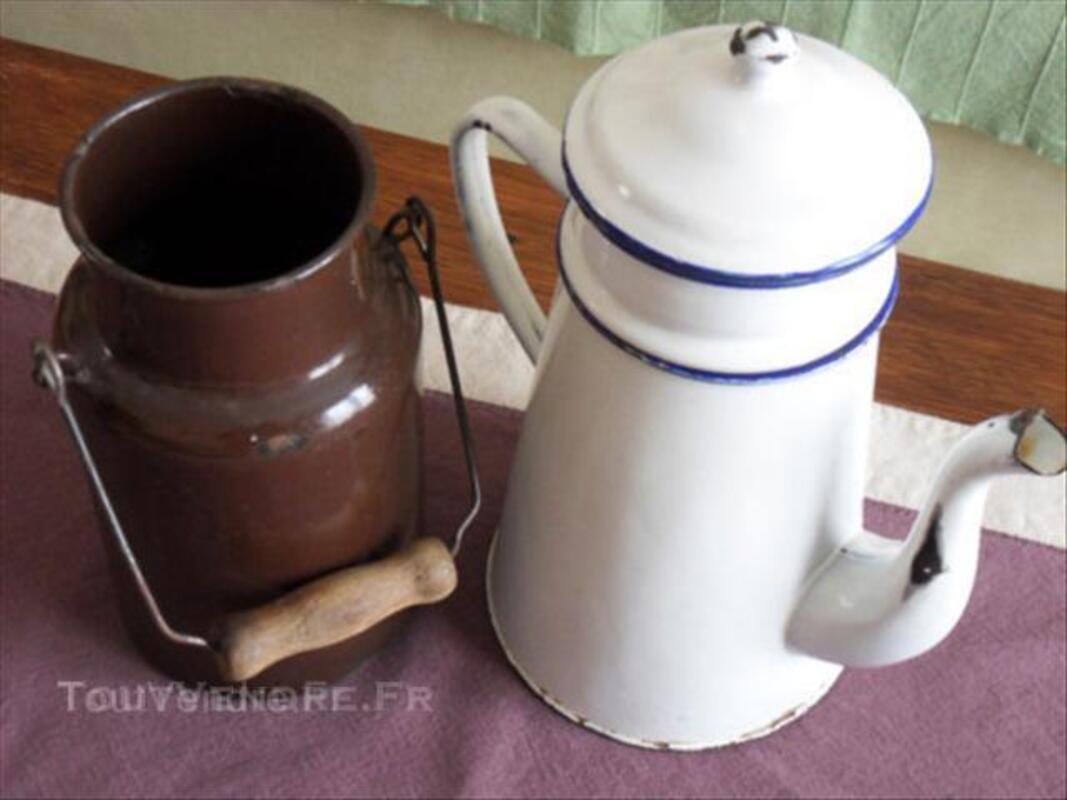 Ancien pot à lait + cafetière céramique émaillée 45540882