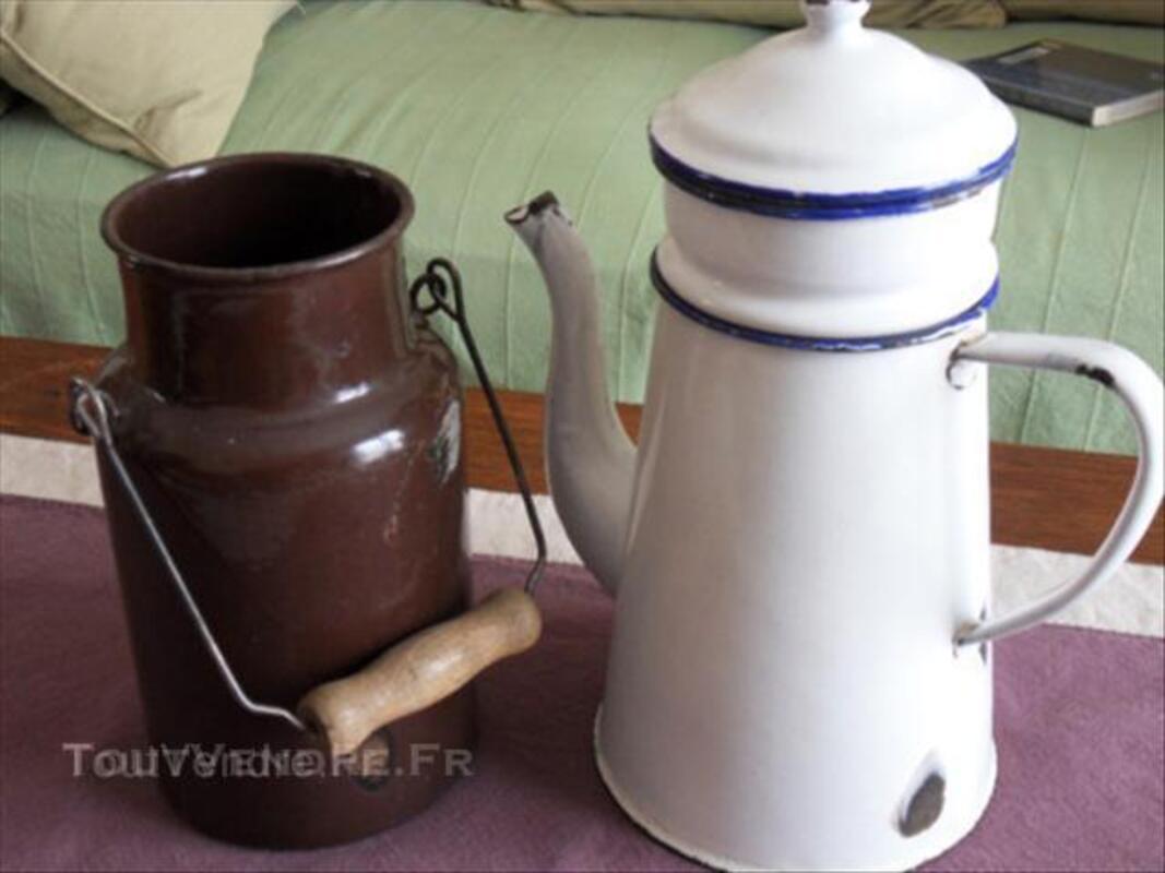 Ancien pot à lait + cafetière céramique émaillée 45540884