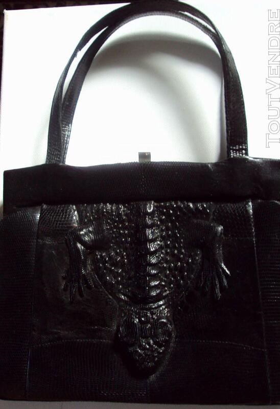Ancien sac noir cuir  lézard original 150813941