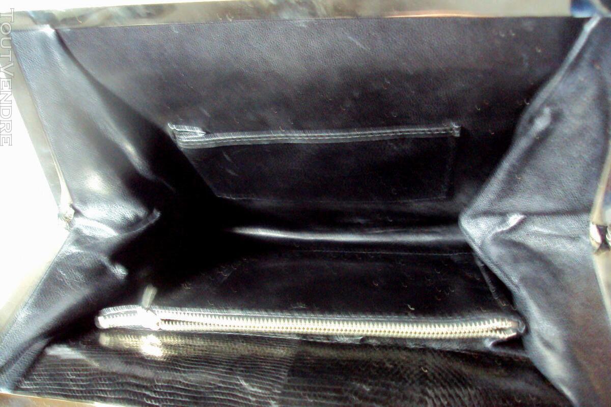 Ancien sac noir cuir  lézard original 150813944