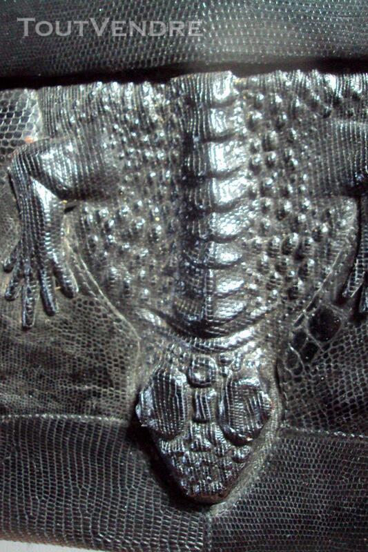Ancien sac noir cuir  lézard original 150813947