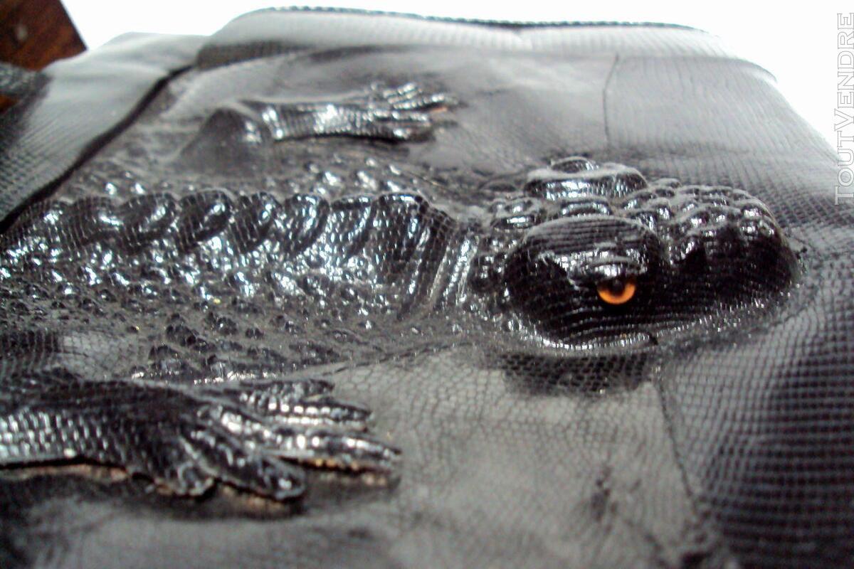 Ancien sac noir cuir  lézard original 150813950