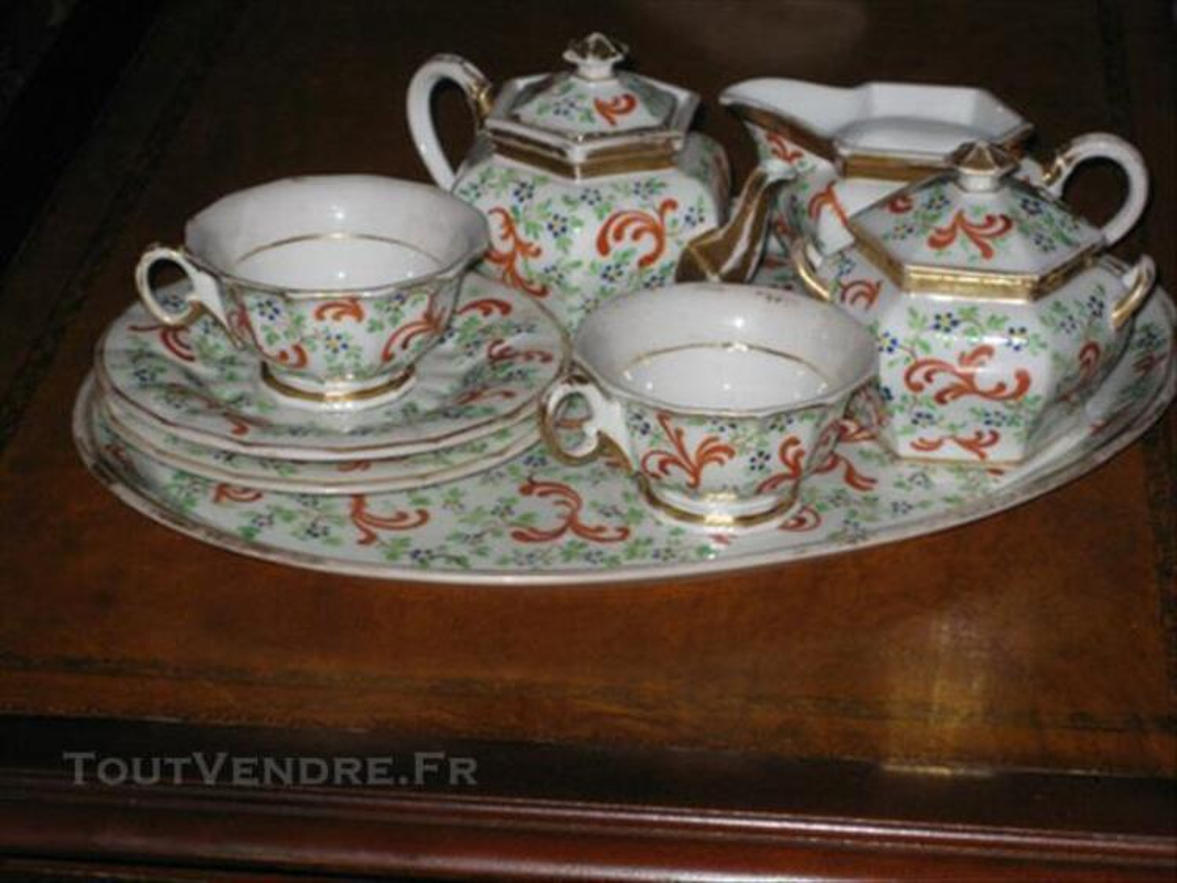"""Ancien Service à Thé """"TETE A TETE """" porcelaine peinte 83877189"""