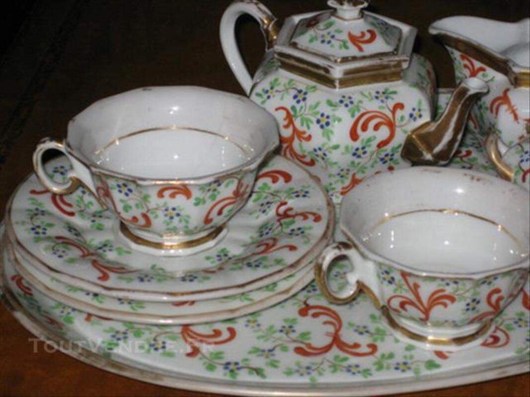 """Ancien Service à Thé """"TETE A TETE """" porcelaine peinte 83877190"""