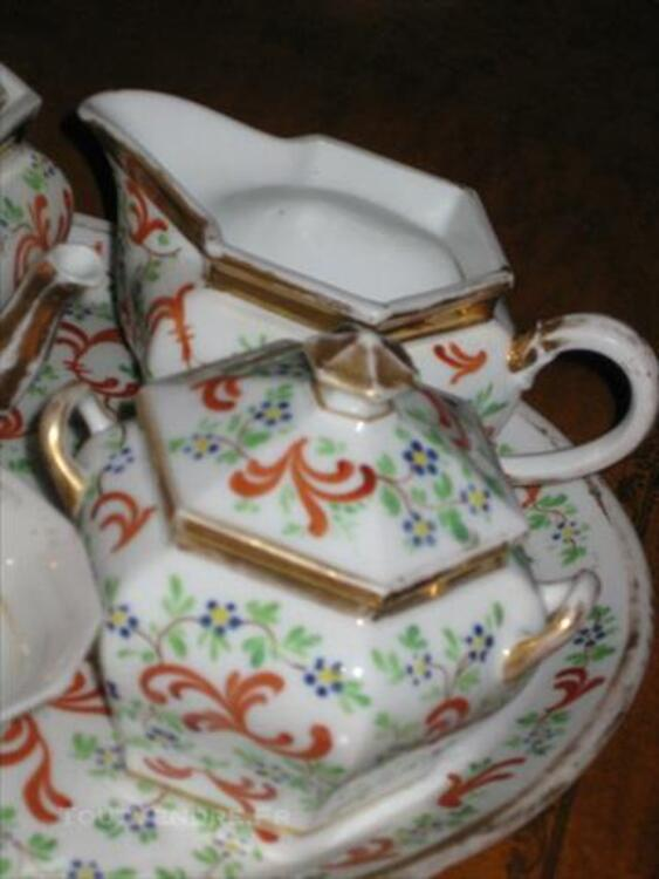 """Ancien Service à Thé """"TETE A TETE """" porcelaine peinte 83877191"""