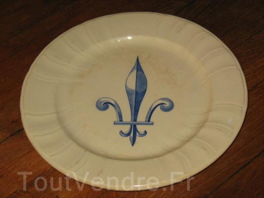 Ancienne assiette en céramique GIEN fleur de lys 19ème 66071706
