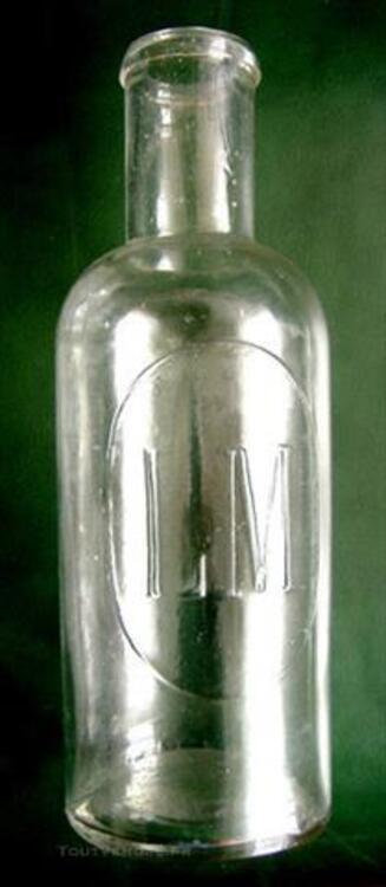 Ancienne bouteille verre début XXe L M médaillon Legras 86143498