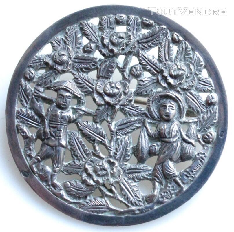 Ancienne broche en argent Chine, Art Asiatique 19è 127356188