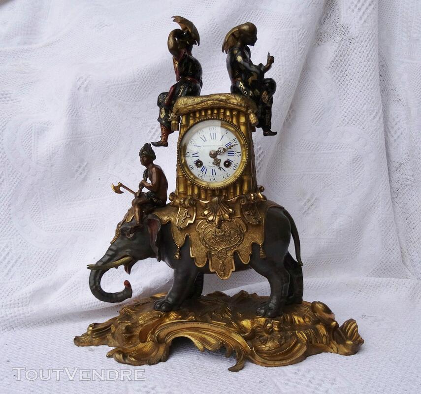 Ancienne pendule Bronze doré Eléphant Jacquier 293299196