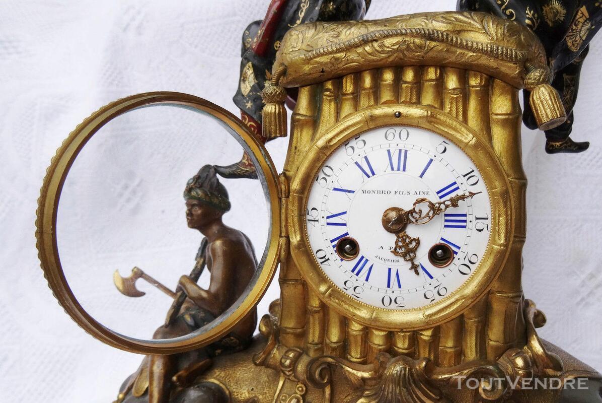 Ancienne pendule Bronze doré Eléphant Jacquier 293299199