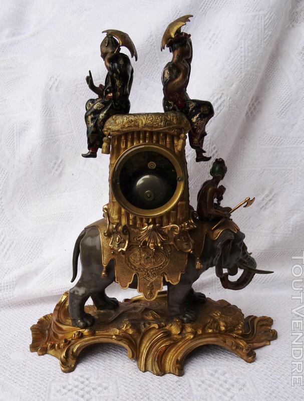 Ancienne pendule Bronze doré Eléphant Jacquier 293299205