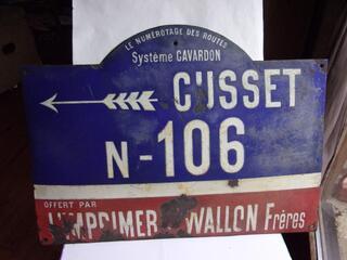 Ancienne plaque émaillée routiére de 1908