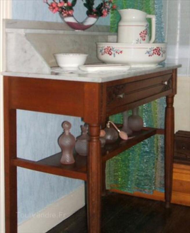 ANCIENNE TABLE DE TOILETTE DESSUS MARBRE BLANC / BUREAU 56242375