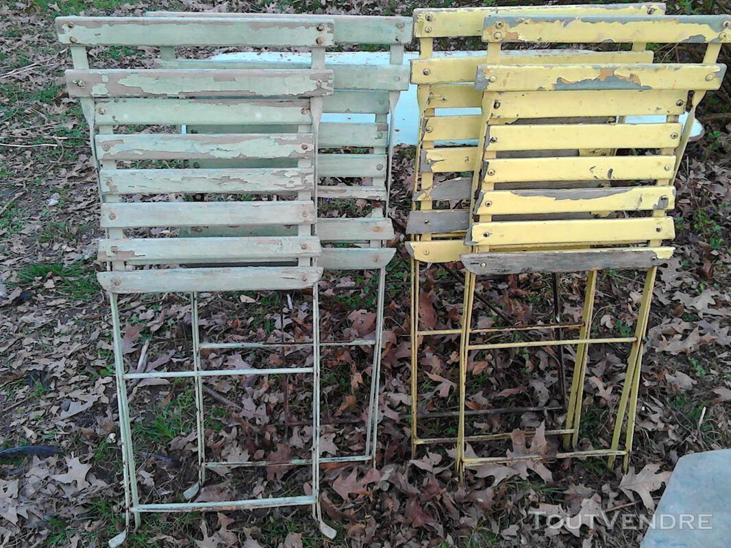 Anciennes Chaises fer&bois jardin/Balcon suxn 194441421