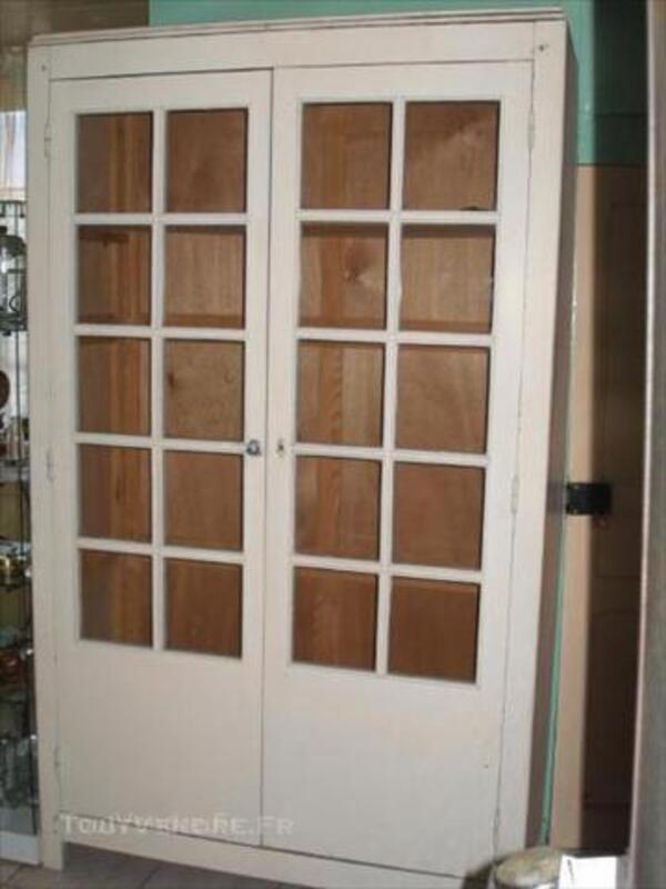 Armoire penderie ancienne 2 grandes portes vitrées Bois 44703506