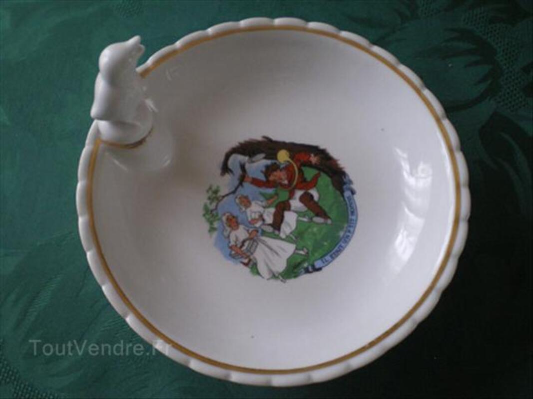 Assiette à bouillie ancienne porcelaine 56192285